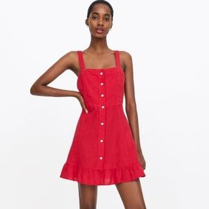 NWT Zara red mini dress with frills